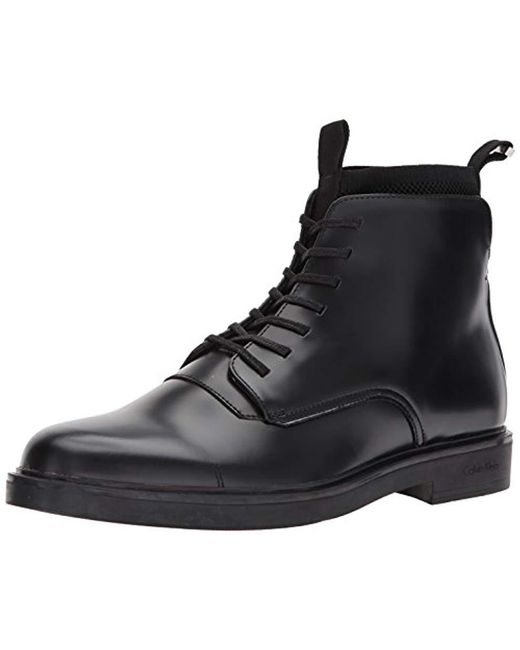 Calvin Klein - Black Devlin Box Leather/knit Boot for Men - Lyst