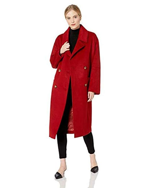 Badgley Mischka Red Mid Length Double Breasted Wool Coat