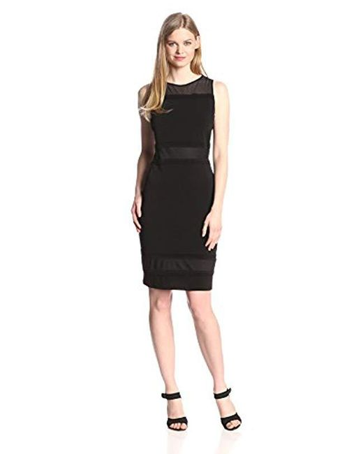 Marc New York - Black Marc New York Sleeveless Mesh Yoke Tucking Trim Shift Dress - Lyst