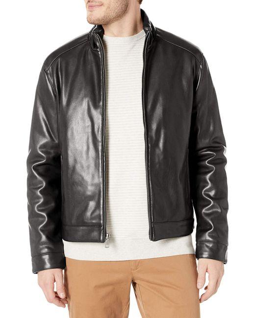 Cole Haan Black Zip Front Faux Leather Moto Jacket for men