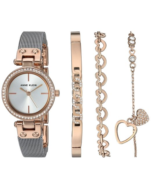 Anne Klein Metallic Swarovski Crystal Accented Rose Gold-tone And Silver-tone Mesh Watch And Bracelet Set