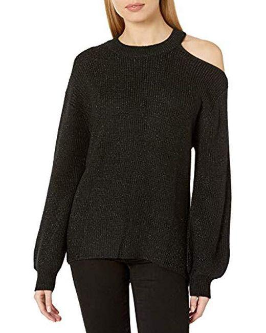 Velvet By Graham & Spencer Black Adrienne Engineered Lurex Sweater