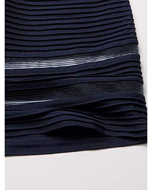 Tadashi Shoji Short Sleece Lace Illusion Gown In Navy Blue