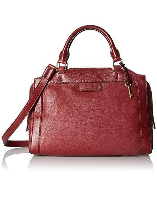 Fossil Red Logan Large Satchel