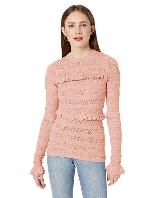 Ella Moss Pink Emma Ruffled Long Sleeve Top