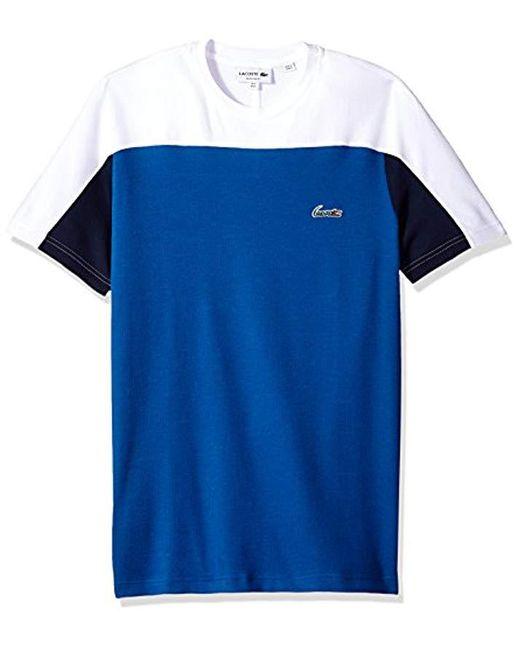 Lacoste - Blue Short Sleeve Color Block Life Double Face Reg Fit T-shirt, Th3265 for Men - Lyst