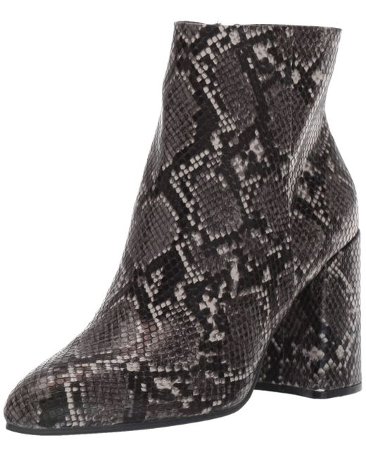 Steve Madden Gray Grey 'therese' Snake Print Block Heel Ankle Boots