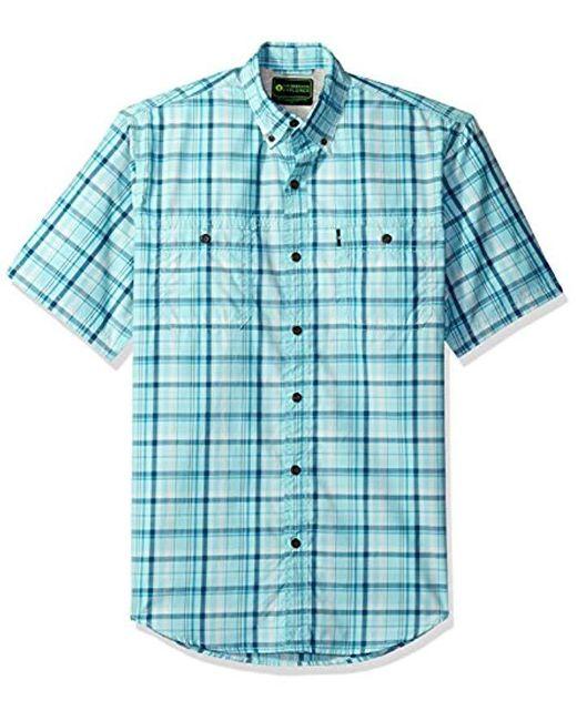 G.H.BASS Blue Explorer Short Sleeve Fishing Shirt Plaid Button Pocket for men
