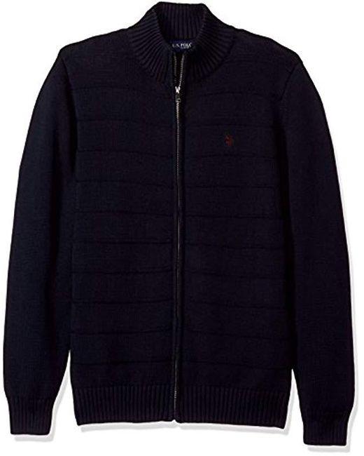 U.S. POLO ASSN. - Blue Texture Fine Stripe Full Zip Sweater for Men - Lyst