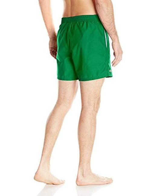 3430cd19b5abd ... Lacoste - Green Taffeta Basic 6 Inch Swim Trunk for Men - Lyst