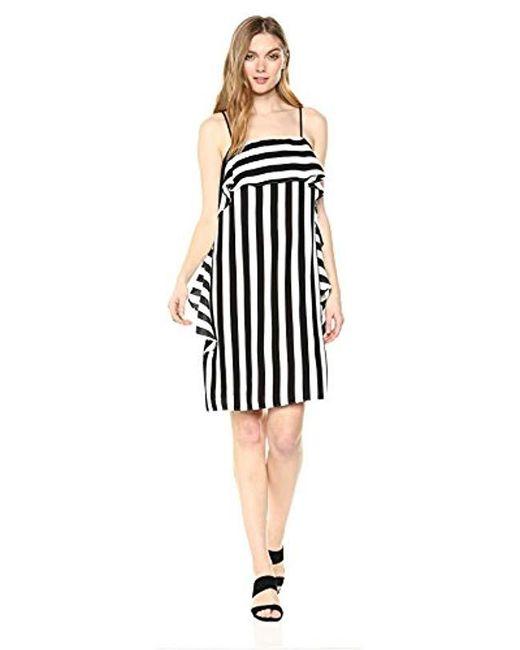 Nicole Miller - Black Spaghtetti Strap Cascade Ruffle Shift Dress, - Lyst