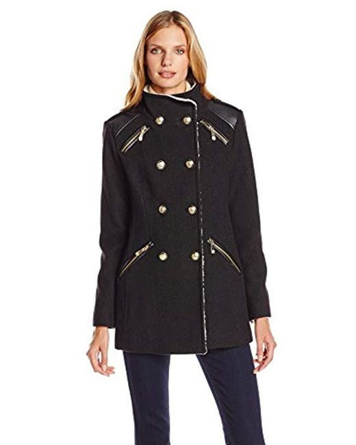Vince Camuto - Black Military Double Breasted Wool Coat With Sherpa Lining - Lyst