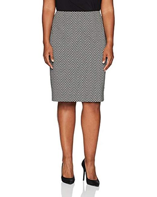 Kasper - Black Plus Size Novelty Herringbone Slim Skirt - Lyst