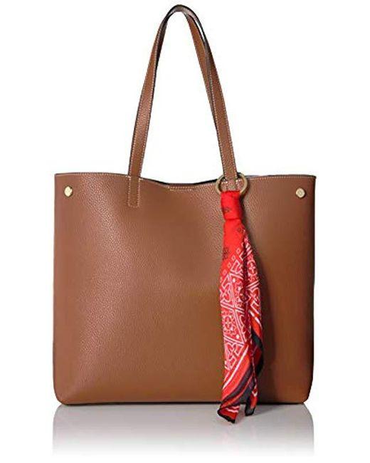 d7ce4706285d5d Calvin Klein - Brown Rachel Vegan Leather Novelty Tote - Lyst ...