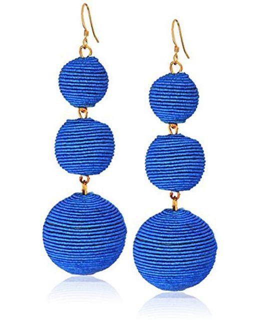 Kenneth Jay Lane - Blue Demin Thread Ball Drop Earrings - Lyst