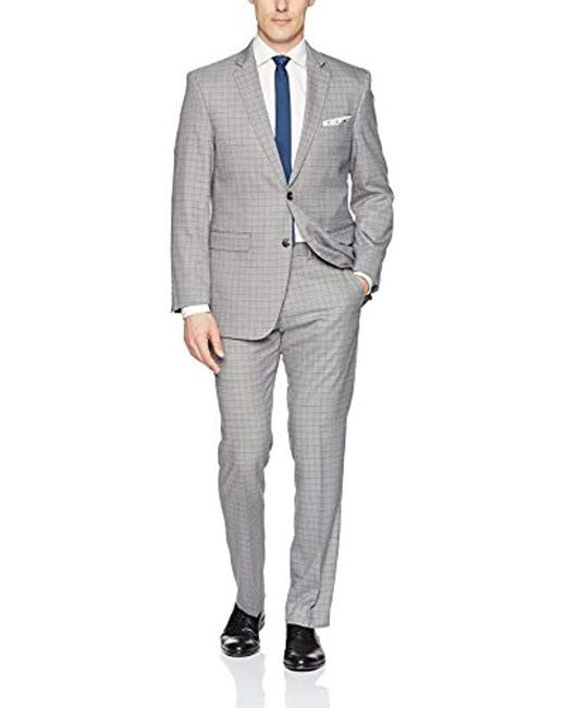 Perry Ellis Gray Two Piece Finished Bottom Slim Fit Suit for men