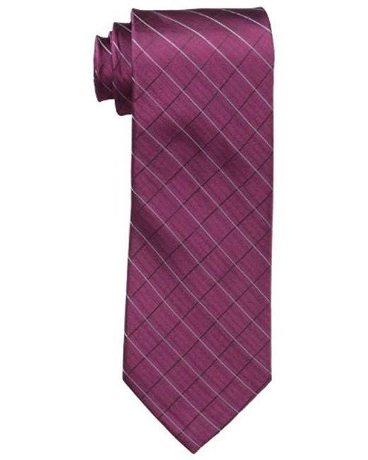 Calvin Klein - Purple Etched Windowpane B Tie for Men - Lyst