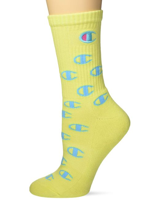 Champion Yellow All Over C Crew Sock W/embroidery