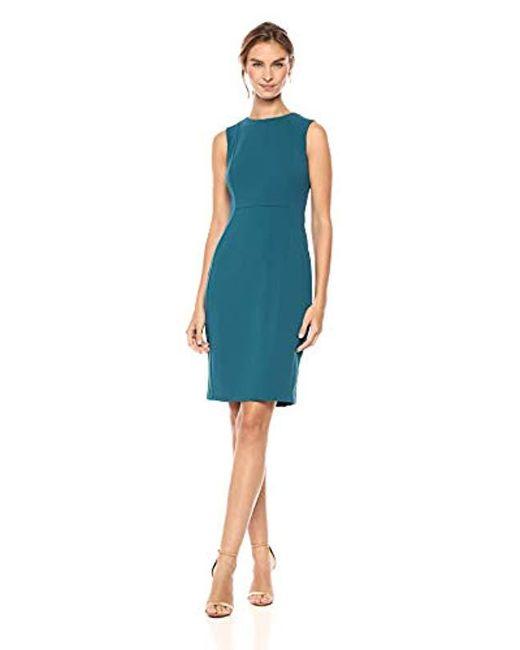 1c82442c Calvin Klein - Blue Scuba Crepe Sleeveless Princess Seam Sheath Dress - Lyst  ...
