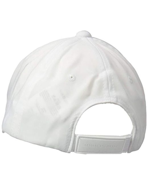 de7d48fabaa Lyst - Armani Exchange Logo Cap White in White for Men - Save 51%