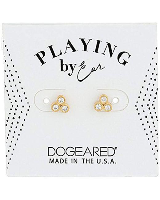 Dogeared - Metallic Pe Cz Trio Studs Earrings, Gold - Lyst
