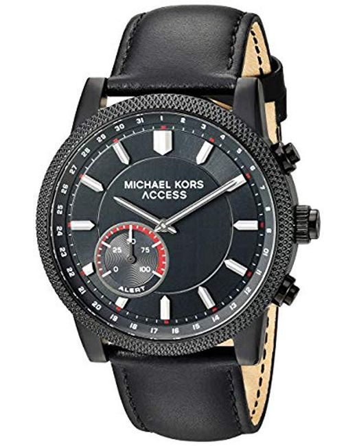 b110df880710 Michael Kors - Access  hutton Hybrid Smartwatch  Quartz Stainless Steel And  Leather Casual Watch ...