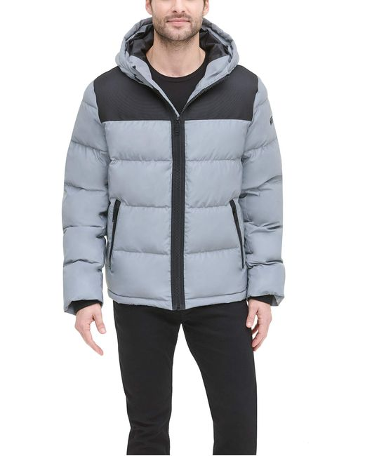 DKNY Multicolor Shawn Quilted Mixed Media Hooded Puffer Jacket for men