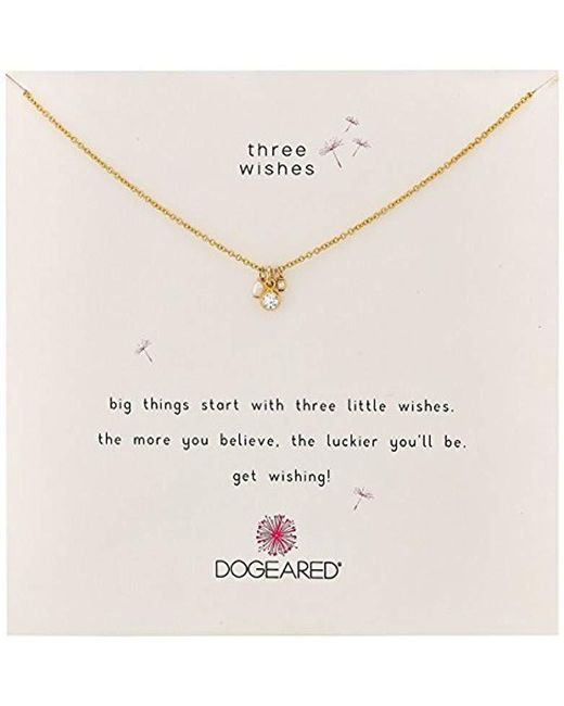 """Dogeared - Metallic Three Wishes Cluster Pearl Bezel Crystal And Bead Chain Necklace, 16""""+2"""" Extender - Lyst"""