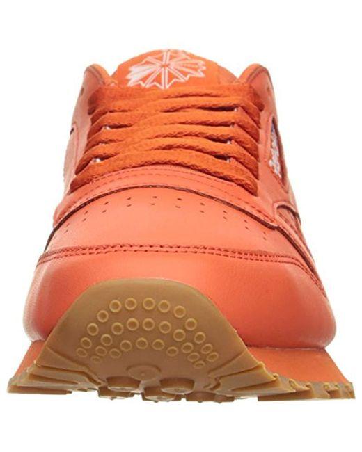 ... Reebok - Orange Cl Lthr Gum Cu Fashion Sneaker for Men - Lyst ... ed151aa17