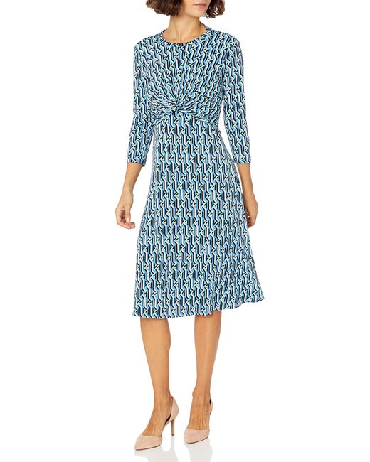 Donna Morgan Blue Petite 3/4 Sleeve Knot Fron Stretch Knit Jersey Midi Dress