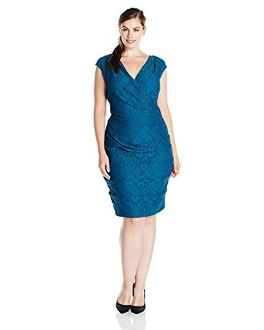 Adrianna Papell - Blue Plus-size Surplice And Rouched Sheath Dress - Lyst