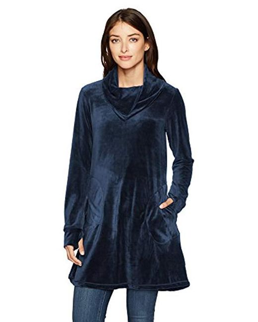 Max Studio - Blue Max Studio Velour Pull Over With Pockets - Lyst