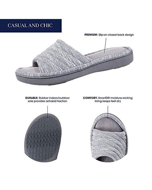 a1e8bafb6ae25 ... Isotoner - Gray Space Dyed Andrea Slide Slipper With Moisture Wicking  For Indoor/outdoor Comfort ...