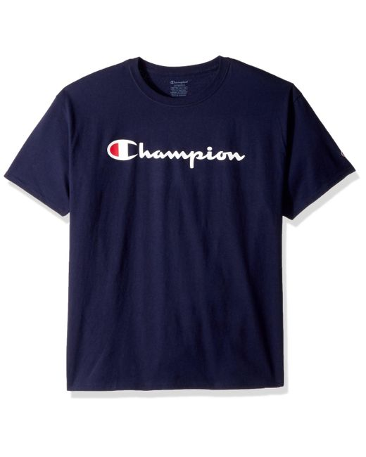 Champion White Big And Tall S T Shirts Classic Comfort Jersey Logo T Shirt for men
