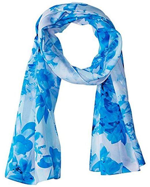 Calvin Klein - Blue Shadow Stripe Floral Scarf - Lyst
