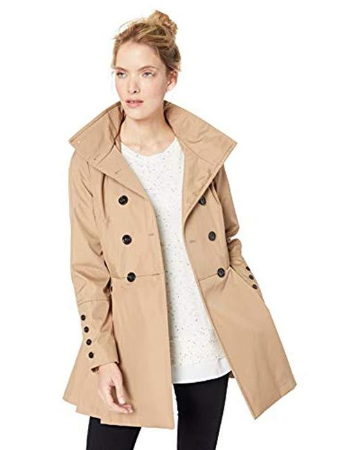 Calvin Klein - Natural Double Breated Rain Coat With Pleated Skirt And Detachable Hood, - Lyst