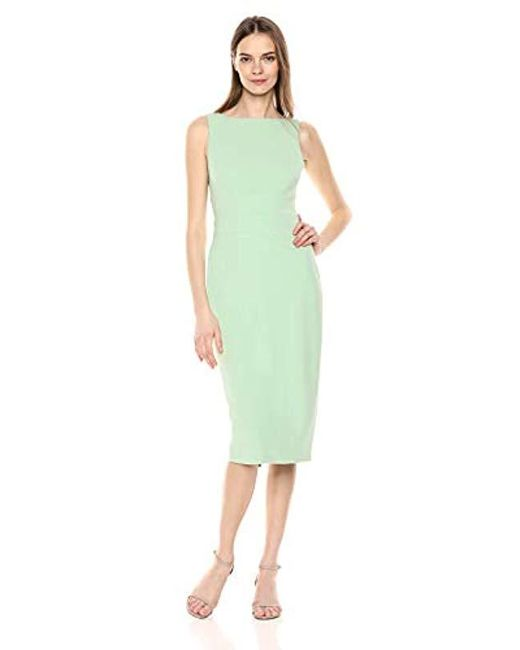 Donna Morgan Green Boatneck Crepe Sheath Dress