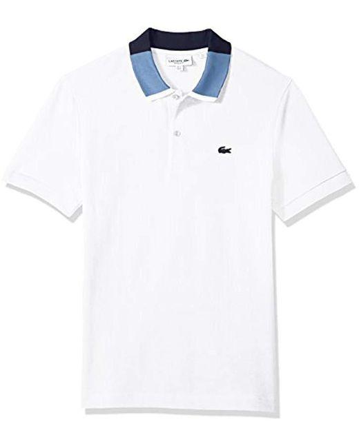 Lacoste - Multicolor Short Sleeve Petit Pique With Color Block Collar Reg Fit Polo, Ph7221 for Men - Lyst