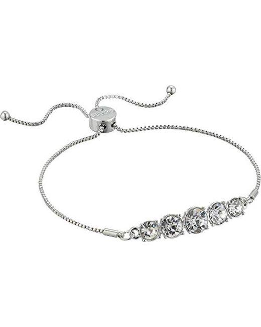 Guess - Metallic Graduated Stone Slider Close Bracelet - Lyst