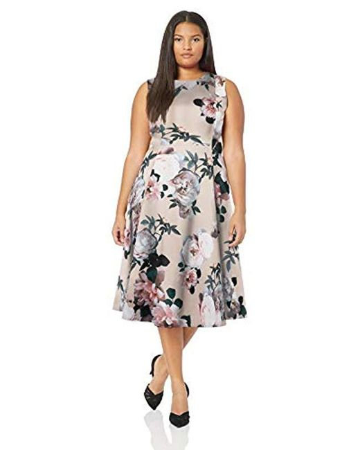 Calvin Klein Multicolor Plus Size Sleeveless Princess Seamed A-line Midi Dress