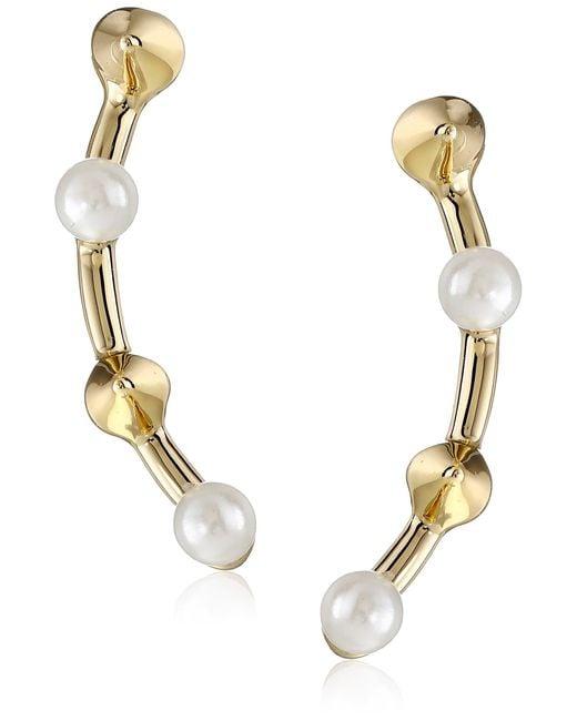 Rebecca Minkoff Metallic Pearl Cone Climber Earrings Gold Toned/pearl Stud Earrings