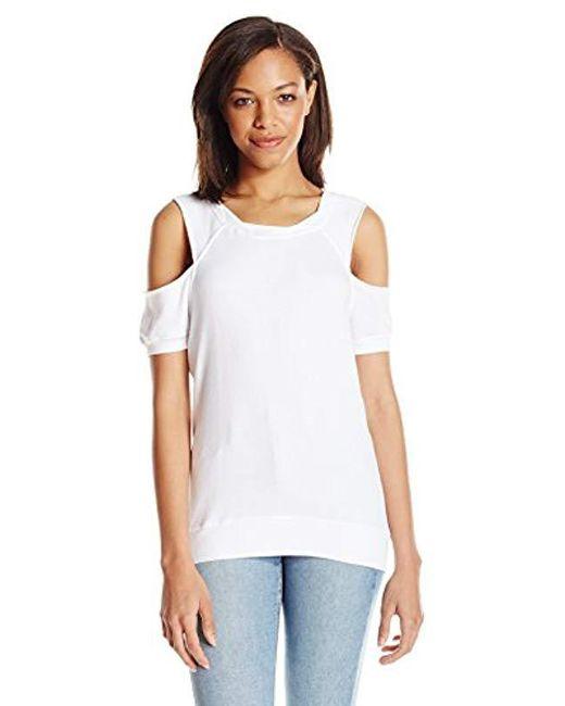 Pam & Gela White S/s Cold Shoulder Sweatshirt