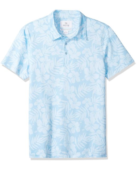 28 Palms Blue Standard-fit Performance Cotton Tropical Print Pique Golf Polo for men