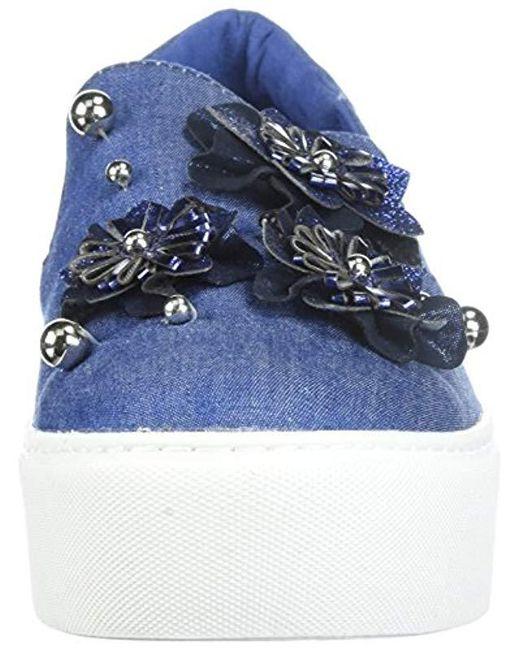 b3d98a93b7705 Women's Blue Cheer Floral Applique Platform Slip On Sneaker
