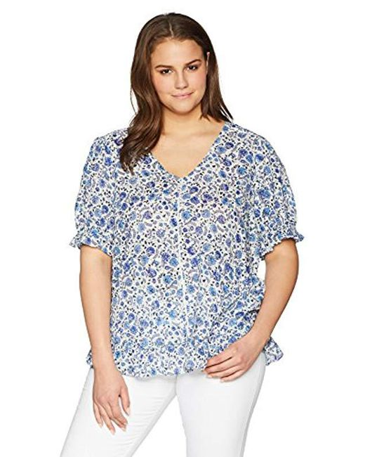 Lucky Brand - Blue Size Plus Floral Print Top - Lyst