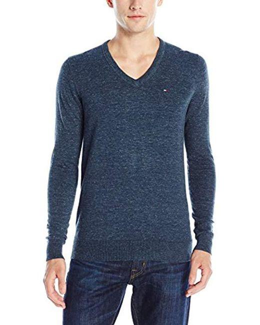 5c6158b7 Tommy Hilfiger - Blue Denim Original Cotton-blend V-neck Long-sleeve  Sweater ...