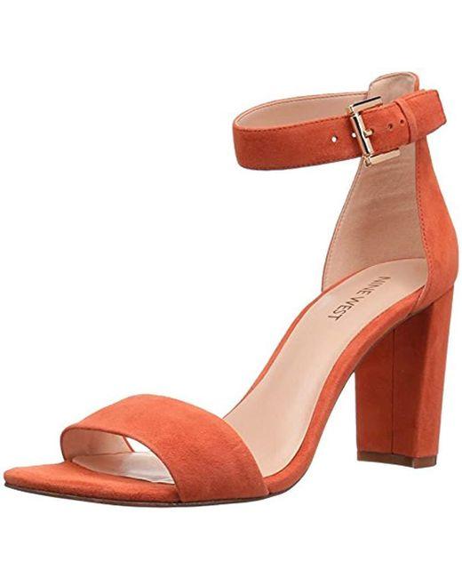 Nine West - Orange Nora Suede Dress Sandal - Lyst