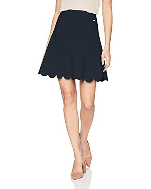 Armani Exchange - Blue   Solid Petled Skirt - Lyst