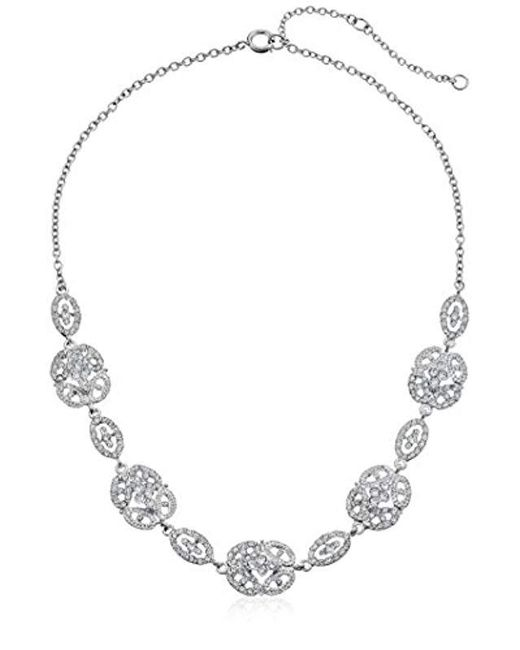 Nina White S N-ayda Necklace, Rhodium/ivory Pearl/cz, One Size