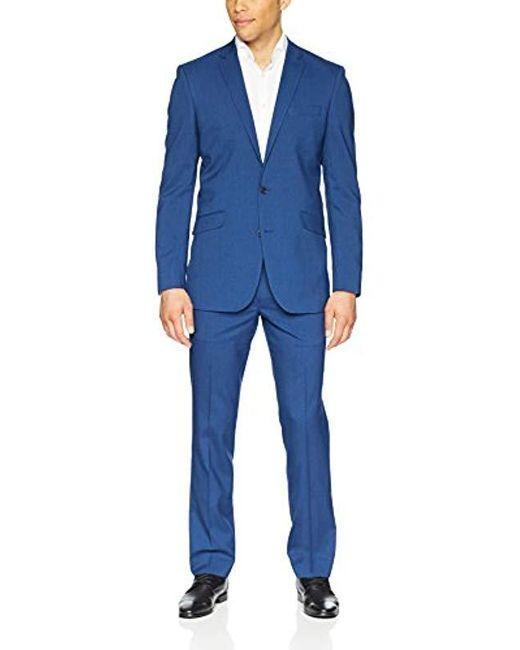 "Kenneth Cole Reaction Blue 32"" Finished Bottom Suit for men"
